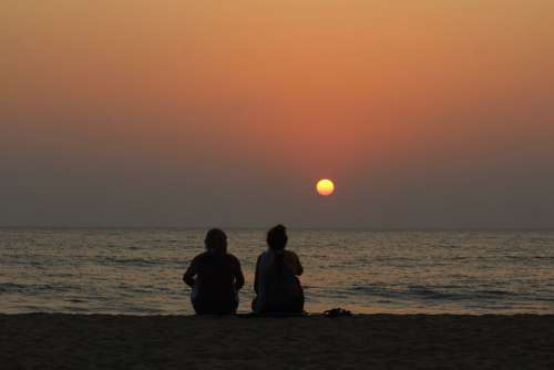 Silhouette Old Age Sunset Evening Beach Goa India