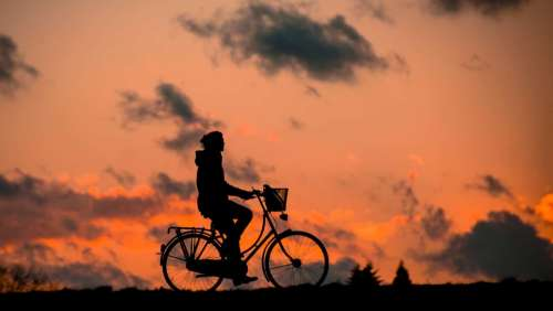 Silhouette Bike Fitness Woman Sporty Healthy