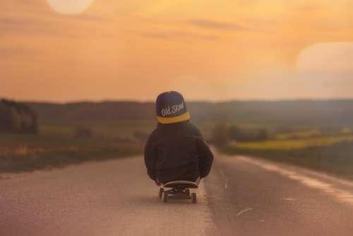 Skateboard Child Boy Sunset Afterglow Landscape