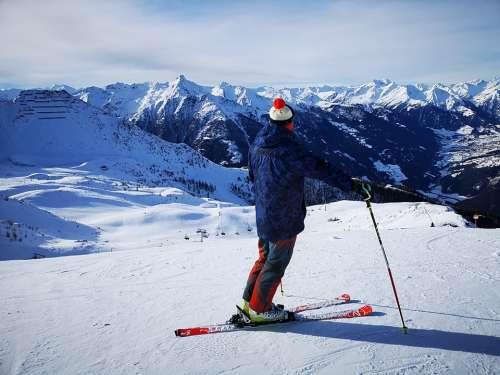 Skiing Mountains Skier Alps Austria Kals Winter