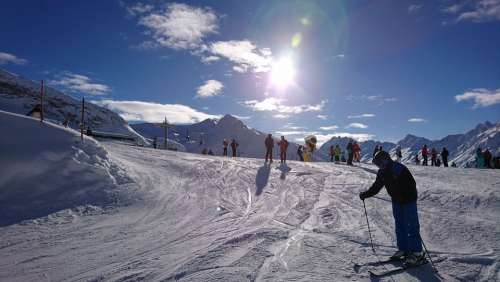 Skiing Ski Winter Mountains Snow Sun Blue Sky