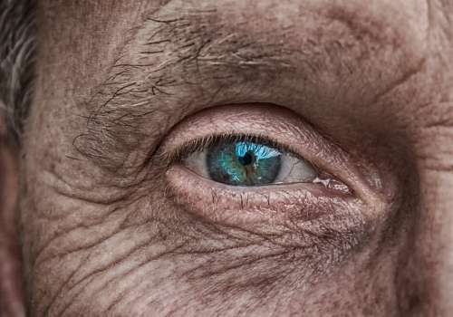 Skin Eye Iris Blue Older Fold Wrinkled Skin Man