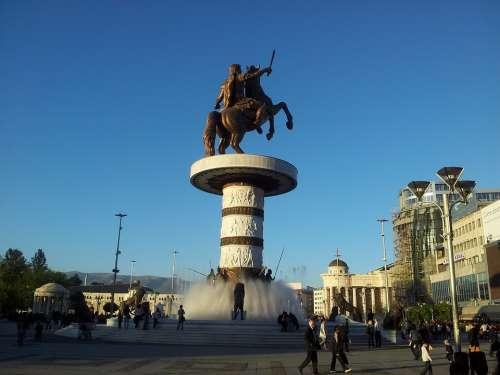 Skopje Square Macedonia Alexander Horse Monument