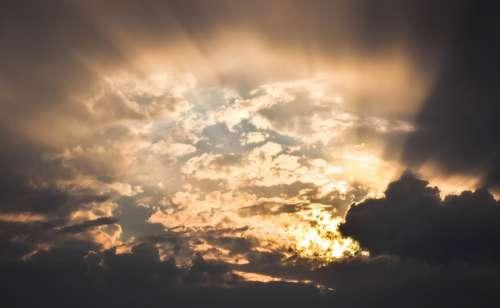 Sky Clouds Rays Sun Hope Sunbeam Revelation