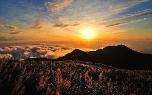 Sky Mountain Clouds Sun Sunset Hills Nature