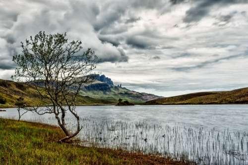 Sky Clouds Tree Waters Lake Hole Scotland