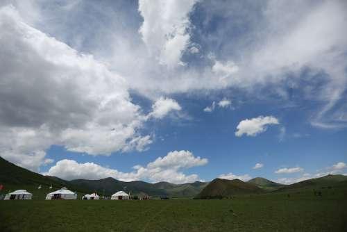 Sky Yurt Mongolian Cloud Grassland