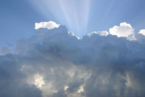 Sky Clouds Rays Of Sunshine Weather Cloudy