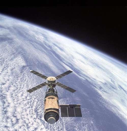 Skylab Orbital Workshop Earth Orbit Overhead View