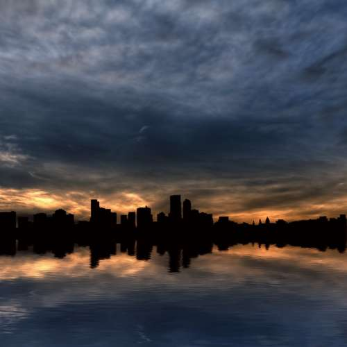 Skyline Skyscrapers City Water Horizon Sunrise