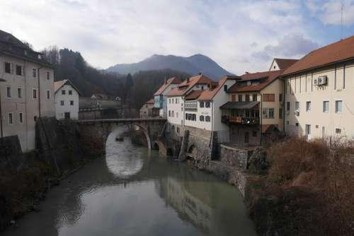 Slovenia Mountains River Buildings Village