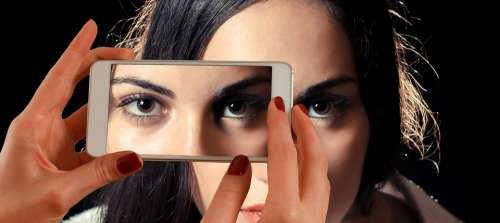Smartphone Face Woman Eyes View Double Third Eye