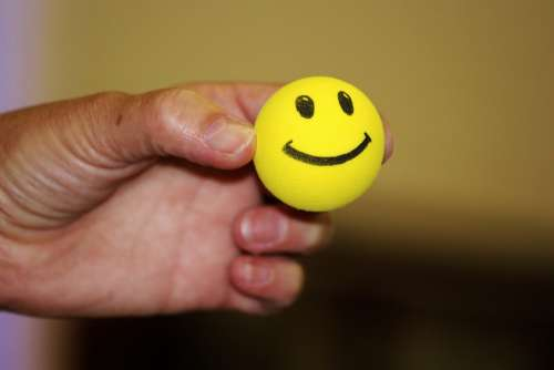 Smiley Ball Laughing Face Yellow Hand