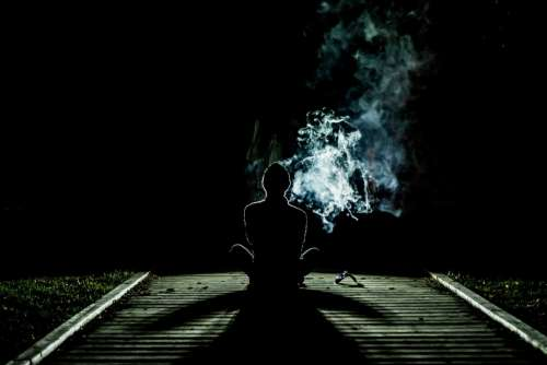 Smoke Human Alone Weird Drugs Meditation Night