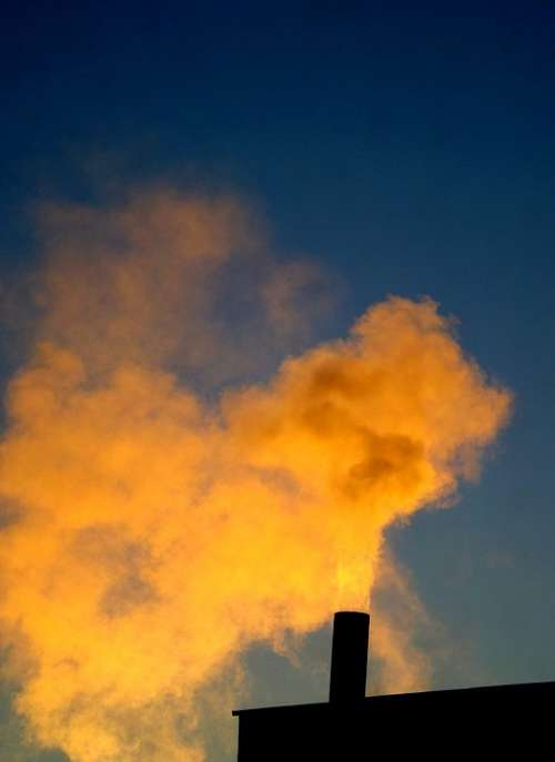 Smoke Horn Steam Sky Sunset Yellow