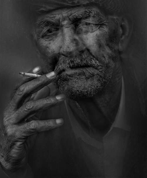 Smoker Man Smoking Cigarette Old Elderly Portrait