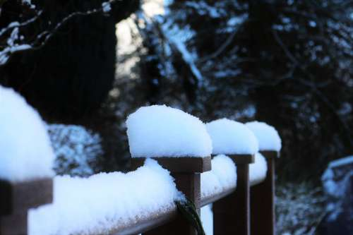 Snow Snow Cover Snow On Railing Winter
