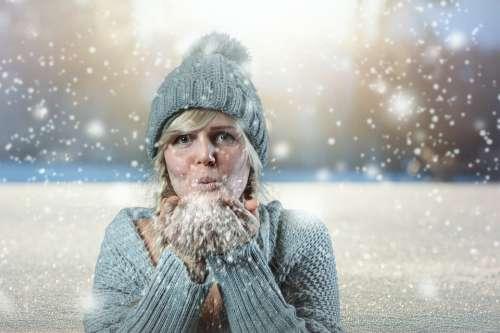 Snow Girl Winter Cold Woman Snowfall Composing