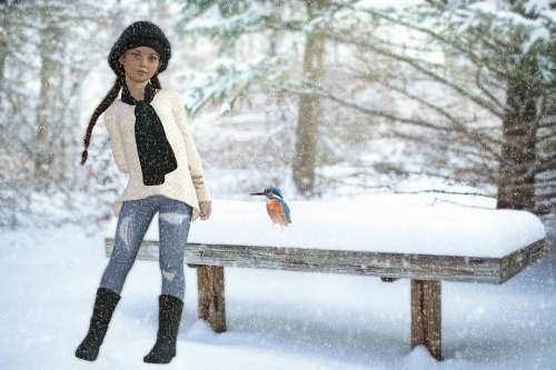 Snow Winter Girl Kingfisher Park Bank Cold