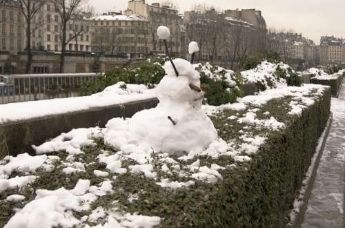 Snow Sculpture Snow Man Paris France Winter City
