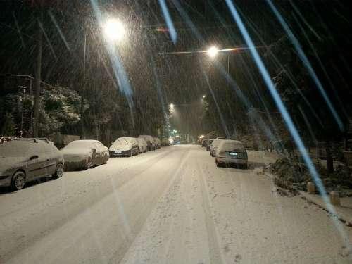 Snow Storm Snow Snowstorm Nighttime Freeze
