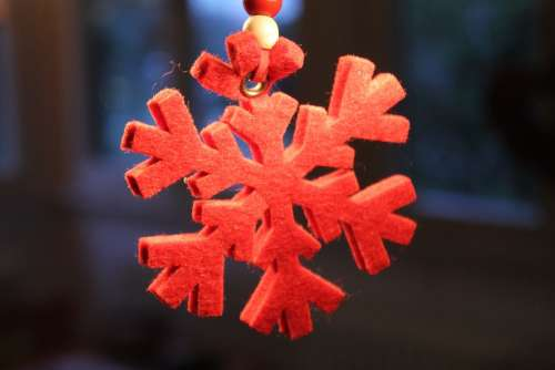 Snowflake Red Christmas Advent Decoration