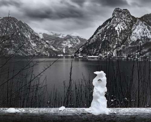 Snowman Snow Salzkammergut Mountains Lake Winter