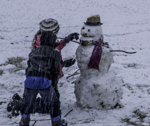Snowman Snowing Kids Wet Winter Driving Building