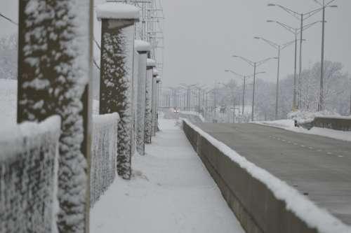 Snowy Road Snow Bridge Walking In Snow Snow Pillars