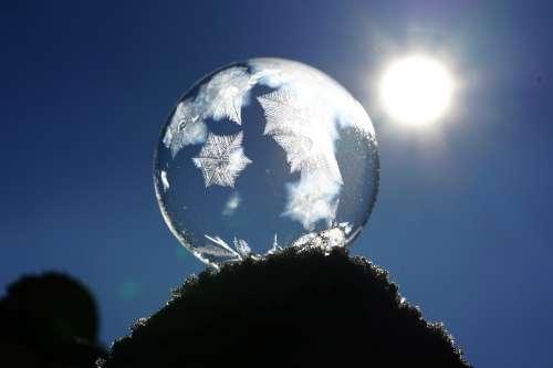 Soap Bubble Crystals Eiskristalle Freeze Cold