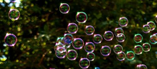 Soap Bubbles Colorful Flying Make Soap Bubbles