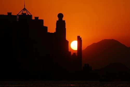 Solar Glow Sunset Sea Sky Sun In The Evening