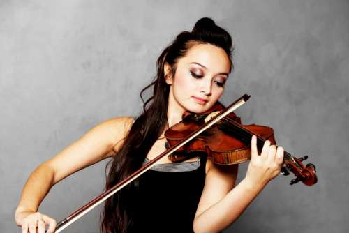 Solo Violinist Playing Artist Stringed Female
