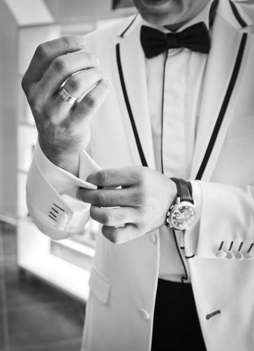 Wedding Cufflinks Black And White Bow Tie Tuxedo