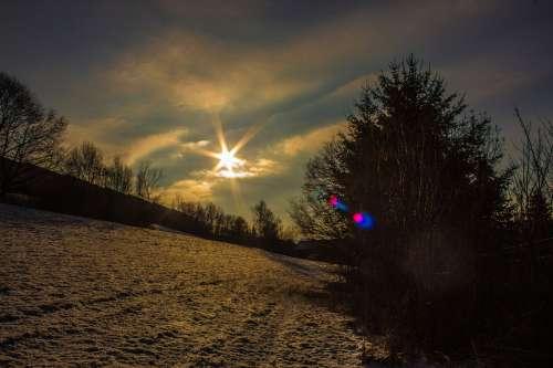 Sonnenstern Winter Wintry Landscape Sun