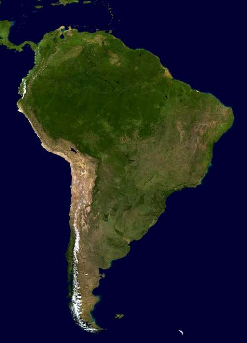 South America Continent Land Map Aerial View