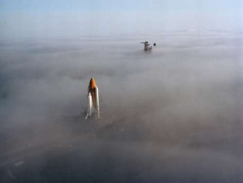 Space Shuttle Cape Canaveral Rollout Launch Pad Fog