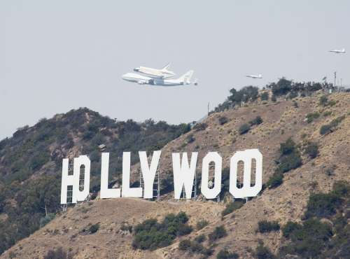 Space Shuttle Flight Hollywood Sign Spaceship