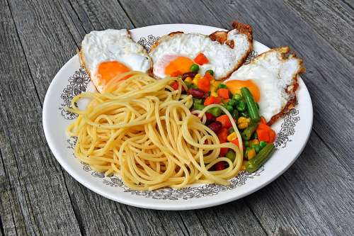 Spaghetti Food Eggs Lunch Meal Egg Food Cook