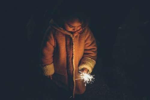 Sparkler Child Celebration Light Girl Holding