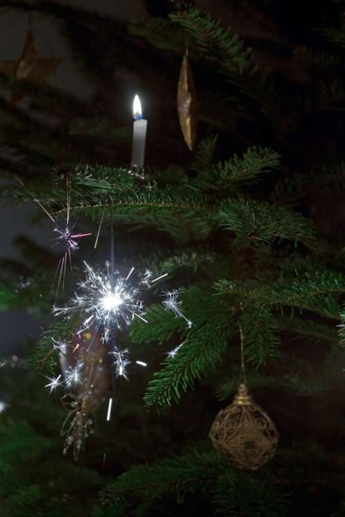 Sparklers Christmas Tree Candles Baubles