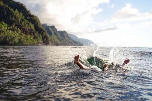 Splash Jump Dive Sink Swim Shore Coast Water