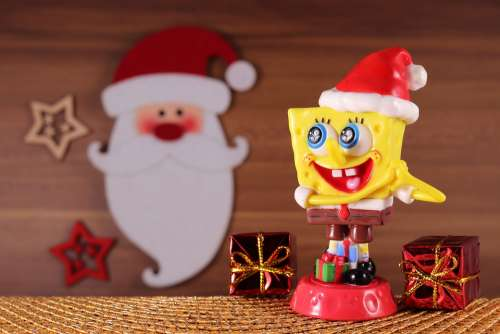 Spongebob Sponge Head Christmas Paid Santa Hat