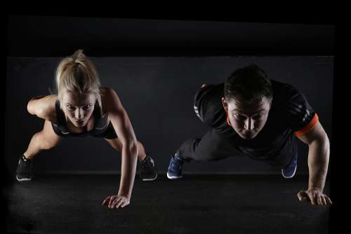 Sport Push-Up Strength Training One Arm Woman Man