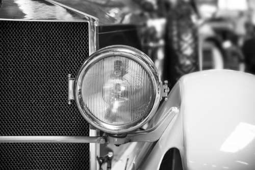 Spotlight Auto Oldtimer Black And White Vehicle