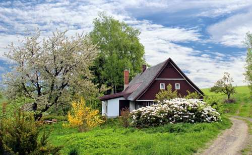 Spring Cottage House Home Garden Grass Landscape