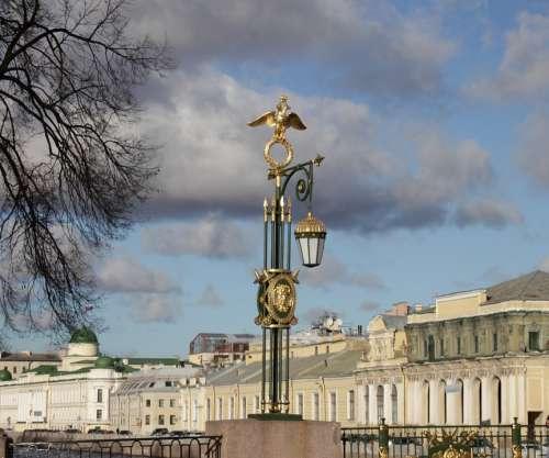 St Petersburg Russia Bridge Lantern Tourism Sky