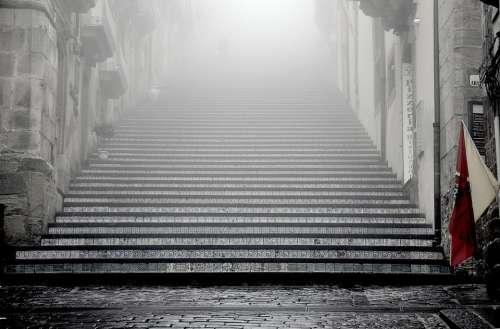 Stairs Steps Temple Up Upward Cobblestone