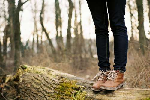 Standing Forest Legs Feet Woman Jeans Boots