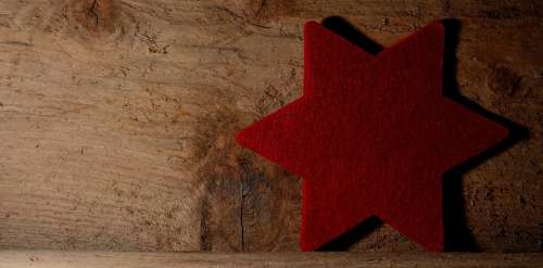 Star Red Wood Background Christmas Deco